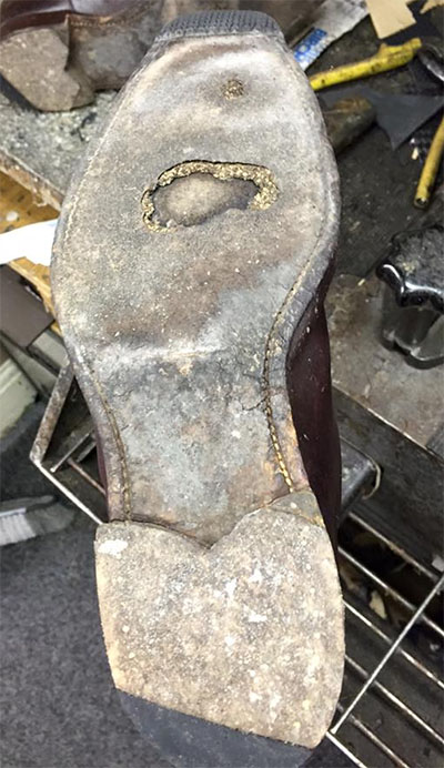 Condition of shoe at the start